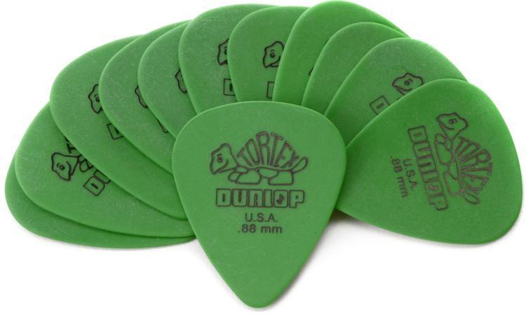 12 Pack Dunlop Tortex Standard .88mm Green Guitar Pick