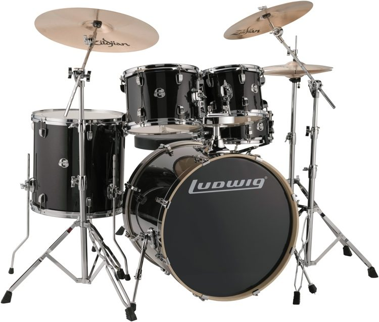 Ludwig Element Evolution 5 Piece Drum Set With Zildjian Zbt Cymbals