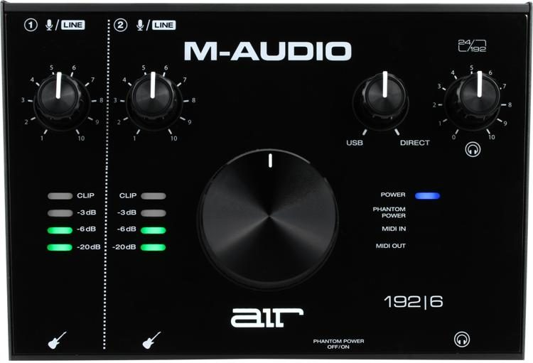 M-Audio AIR 192|4 USB-Audio Interface Set 2-In//2-Out Crystal Software Kopfhörer