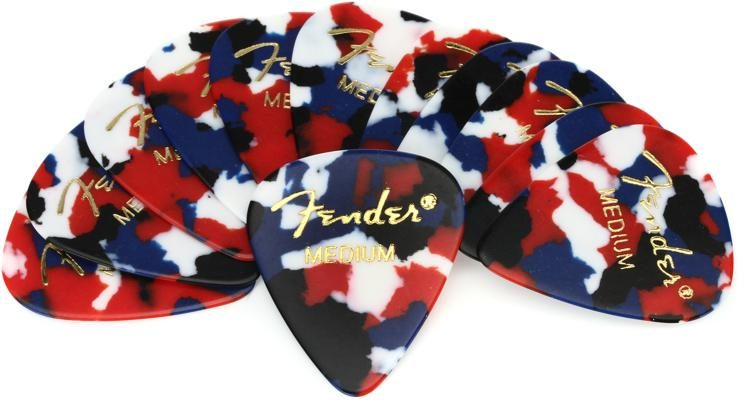 Thin, Med /& Heavy Shell, Confetti, White Fender Guitar Picks 12 Variety Pack