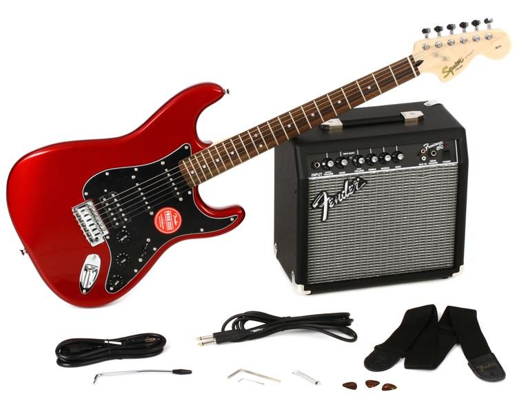 squier strat pack hss candy apple red sweetwater