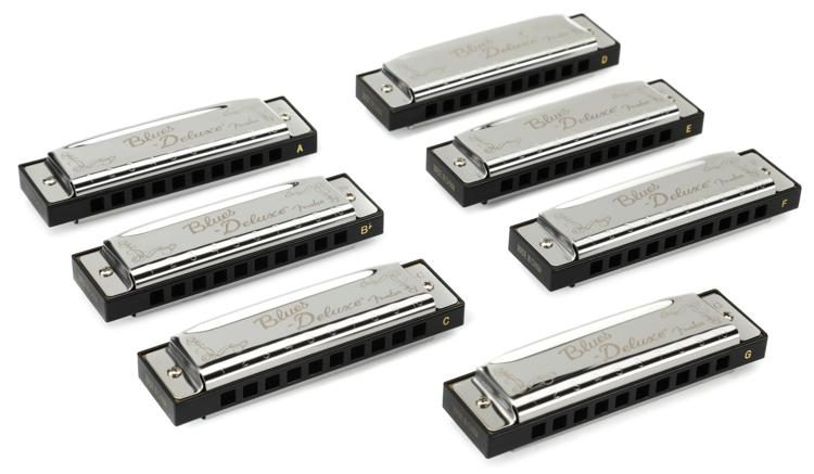 Blues Deluxe Harmonica - Pack of 7, with Case