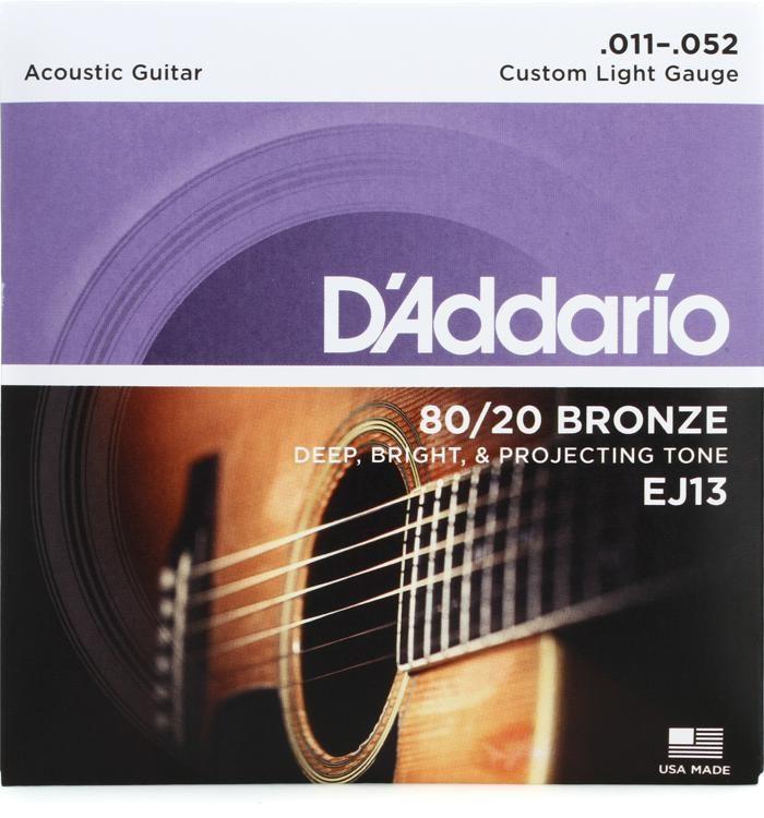 Ej13 Custom Light 80 20 Bronze Acoustic Strings 011 052