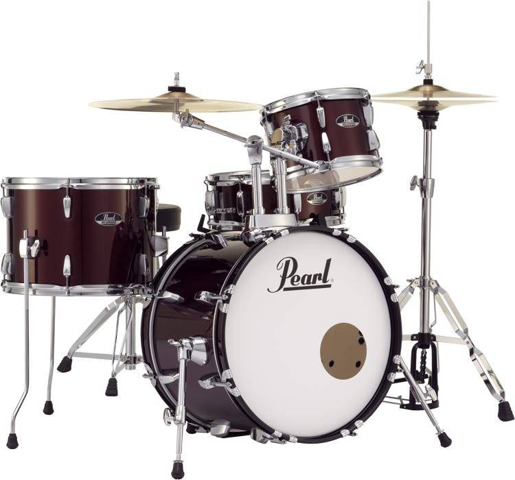 Pearl Roadshow 4 Piece Complete Drum Set With Cymbals Wine Red