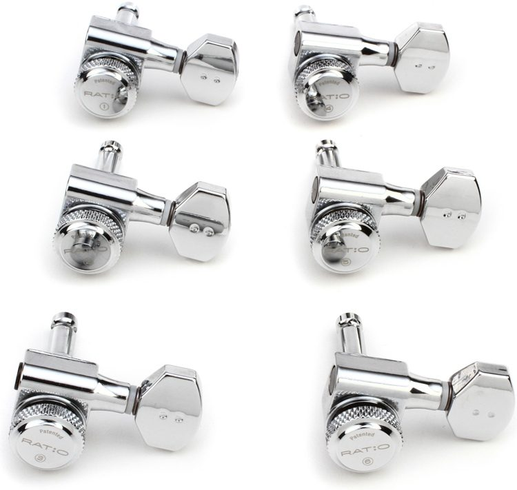 6-In-Line Guitar Tuning Machines NEW CHROME