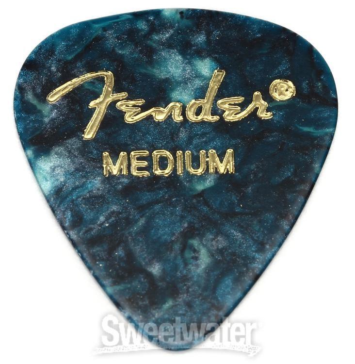 OCEAN TURQ 12-Pack Fender 351 Premium Celluloid Guitar Picks 1 Dozen MEDIUM
