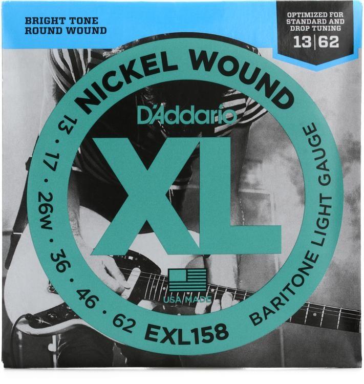 Nickel Wound XL Bright Baritone Guitar Strings .013 to .062 D/'Addario EXL158