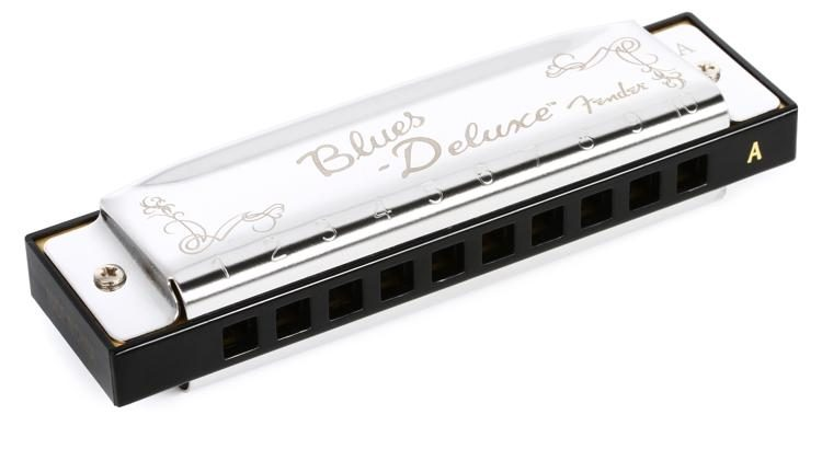 Key of A SHIPS FREE New Fender Blues Deluxe Harmonica w// Vented Plastic Case