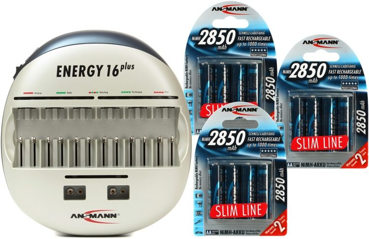 Ansmann Energy 16 Plus Battery Charger + (12) AA Batteries | Sweetwater
