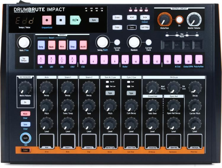 Arturia DrumBrute IMPACT Analog Drum Machine w// USB MIDI Performance Pads