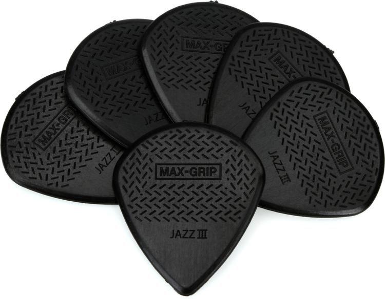 Dunlop 471P3S Nylon Max-Grip Jazz III Guitar Picks Black