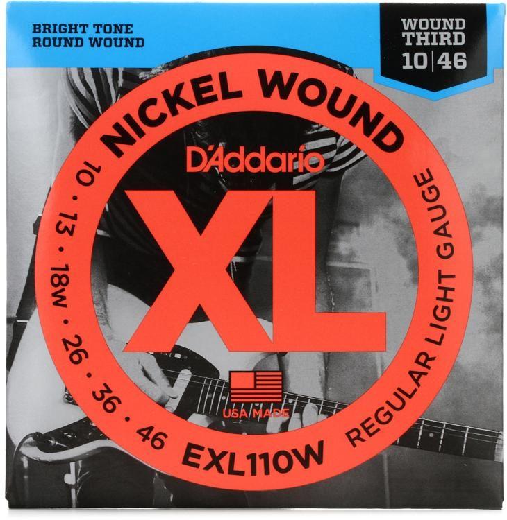 D'Addario EXL110W Nickel Wound Regular Light 10-46 Wound 3rd