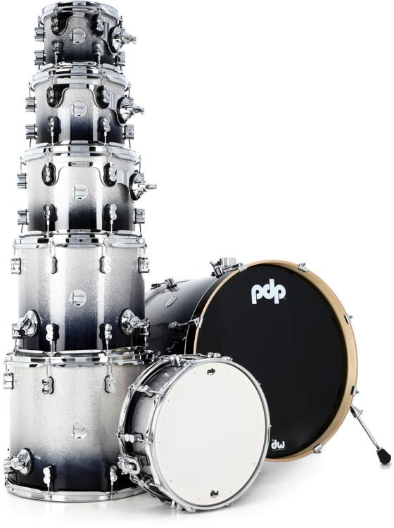 Pdp Concept Maple Shell Pack 7 Piece Silver To Black Sparkle
