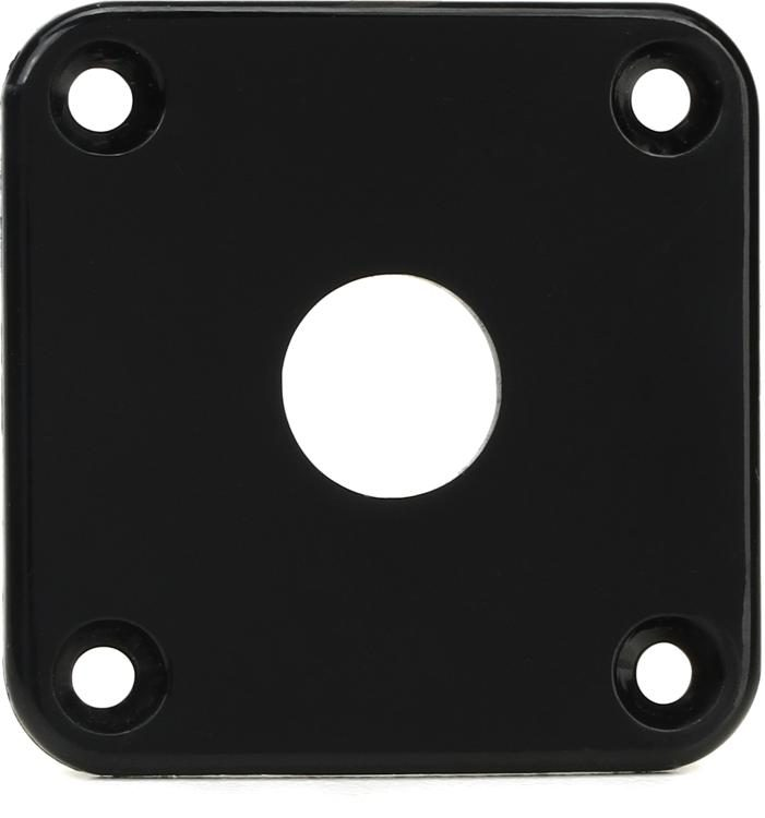 BLACK Rectangular Jack Plate For Guitar NEW