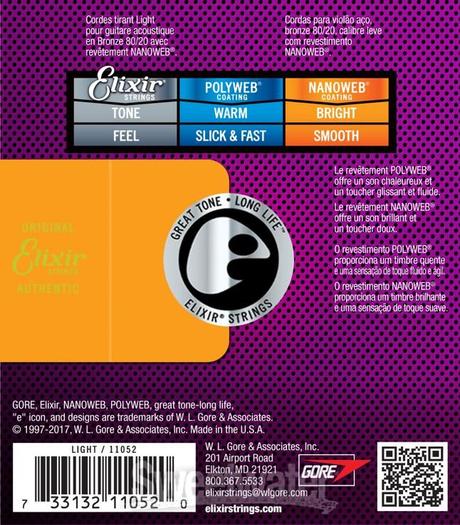 .013-.053 Elixir Strings 80//20 Bronze Acoustic Guitar Strings w NANOWEB Coating HD Light