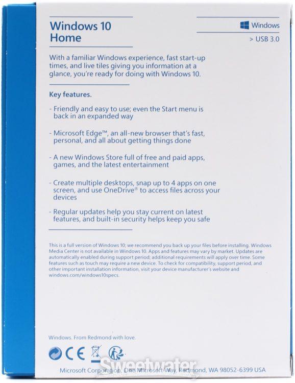 Microsoft Windows 10 Home 32 64 Bit 1 License Usb Flash Drive Sweetwater
