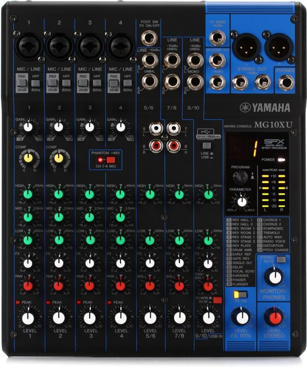 yamaha mixer. yamaha mg10xu mixer with usb and fx image 1