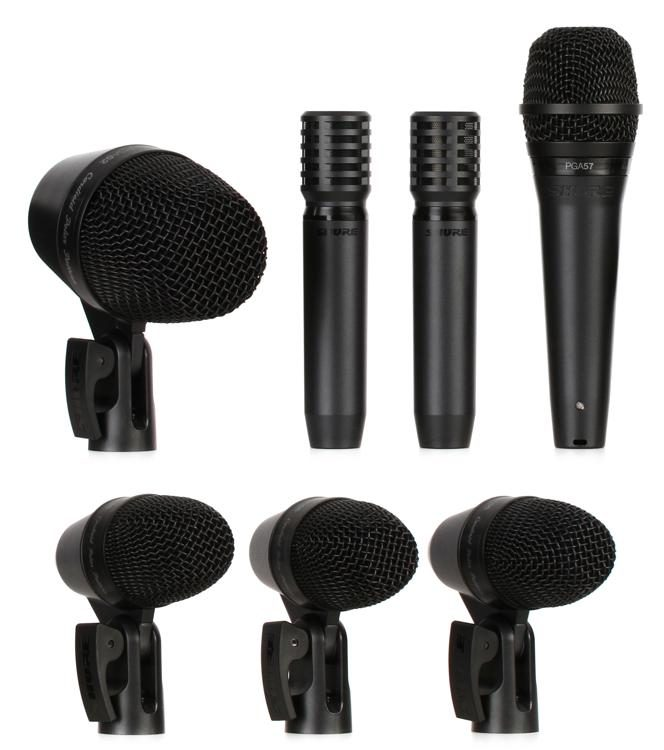 7-Piece Drum Set Microphone Kit w// Case /& Mounting Clips