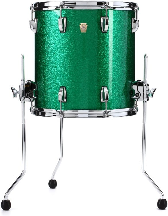 Ludwig Classic Maple Floor Tom 14 X 14 Green Sparkle Sweetwater