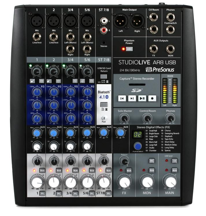 StudioLive AR8 USB Mixer and Audio Interface with Effects