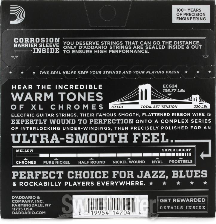 D/'Addario XL Chromes Jazz Light 11-50 ECG24 Warm//Mellow Guitar Strings 5 Pack