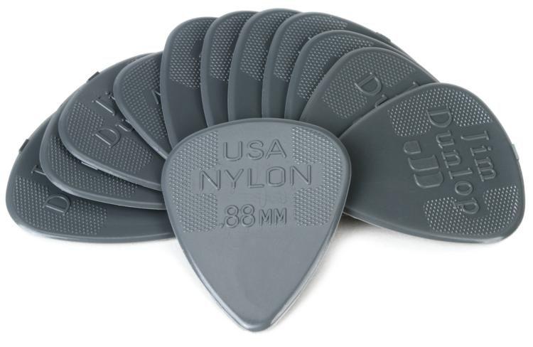 w//GRIPS Standards 6 DUNLOP GUITAR PICKS- NYLON ALL .38mm
