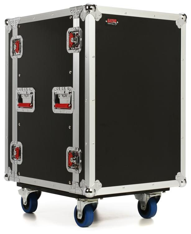 G Tour 16u Cast Ata Wood Rack Case With Casters