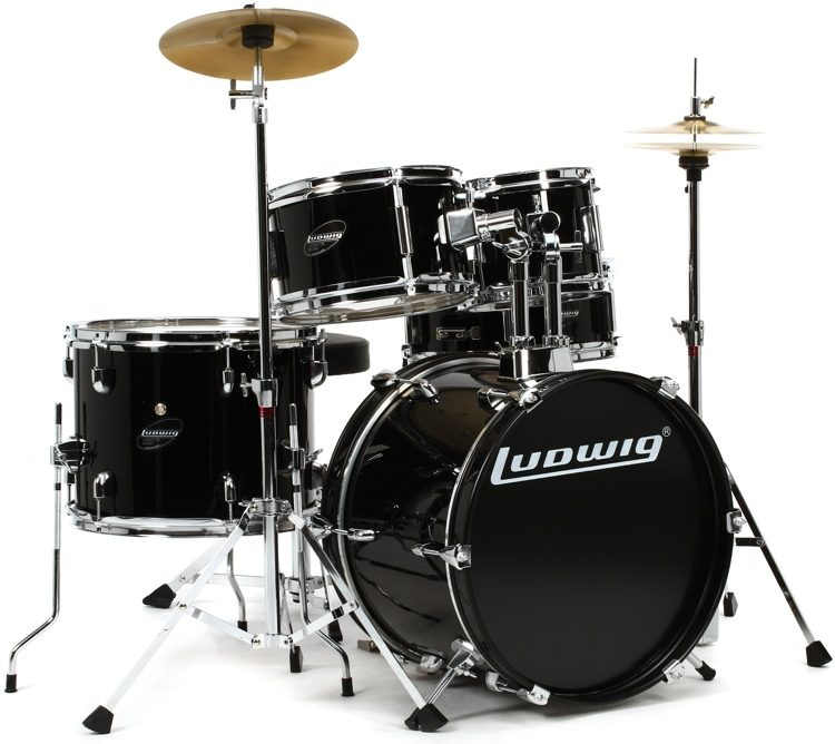 Ludwig 5-piece Junior Drum Set with Cymbals and Hardware - Black ... 5f0271a7d33f