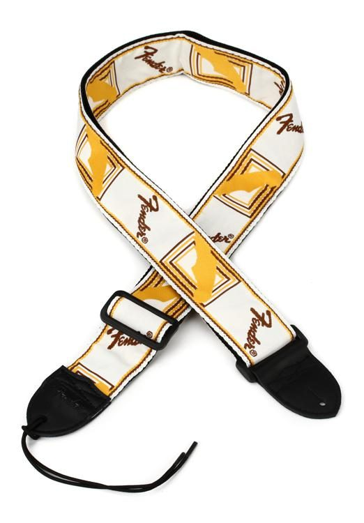 Fender Guitar Strap >> 2 Monogrammed Guitar Strap White Brown And Yellow