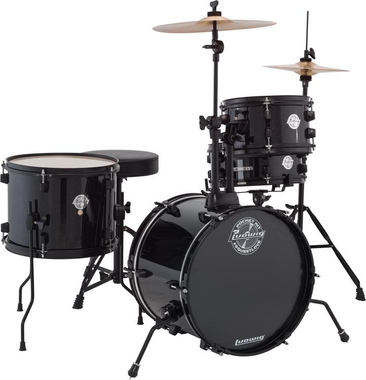 Ludwig Questlove Pocket Kit Drum Set - Black Sparkle | Sweetwater
