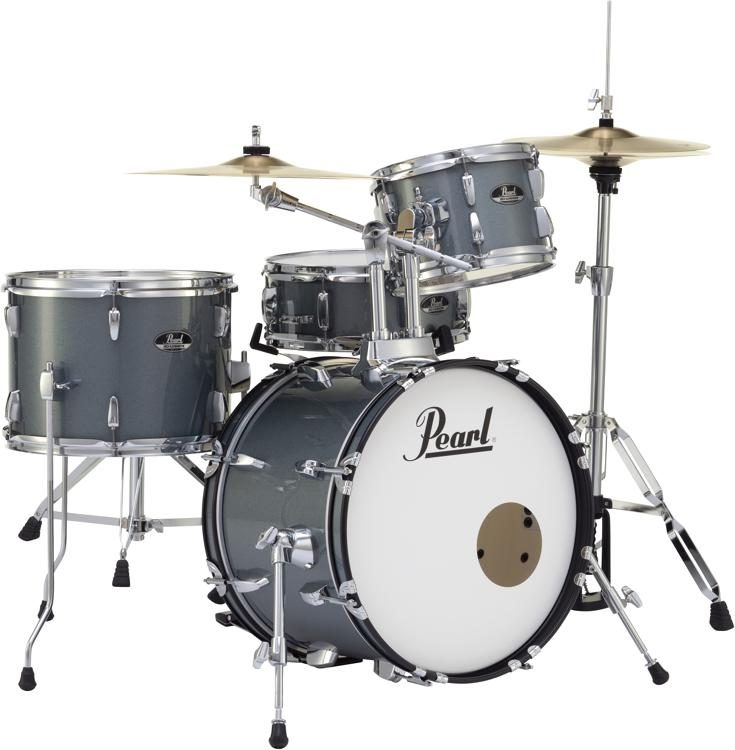 Pearl Roadshow 4 Piece Complete Drum Set With Cymbals Charcoal