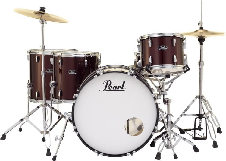 Pearl Drum Set Red Wine 5 piece RS525SC//C91 with Vater 5B Wood Tip Hickory Drum Sticks Pair