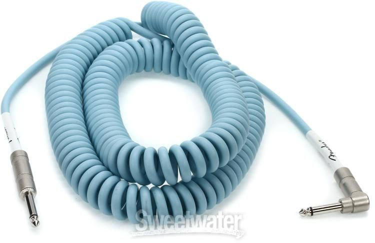 Daphne Blue, 30 ft, Straight//Right Angle Fender Original Series Coil Cable