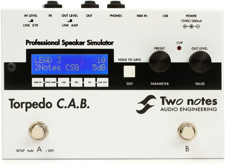 Two Notes Torpedo C A B Speaker Simulator Pedal Sweetwater