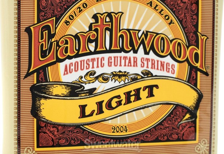 Ernie Ball 2004 Earthwood 80//20 Bronze Light Acoustic Guitar Strings 6 Pack