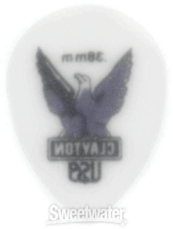 12 pk Clayton Acetal Polymer Rounded Triangle .38mm Picks