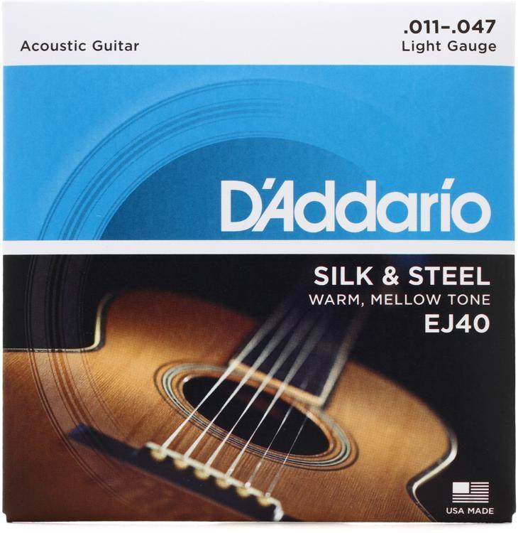 58056059cfea D Addario EJ40 Silk and Steel Folk Acoustic Guitar Strings - .011-.047 .