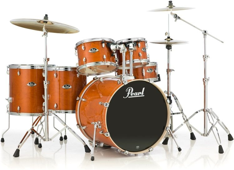 Pearl Export Exl 6 Piece Rock Drum Set With Hardware Honey Amber