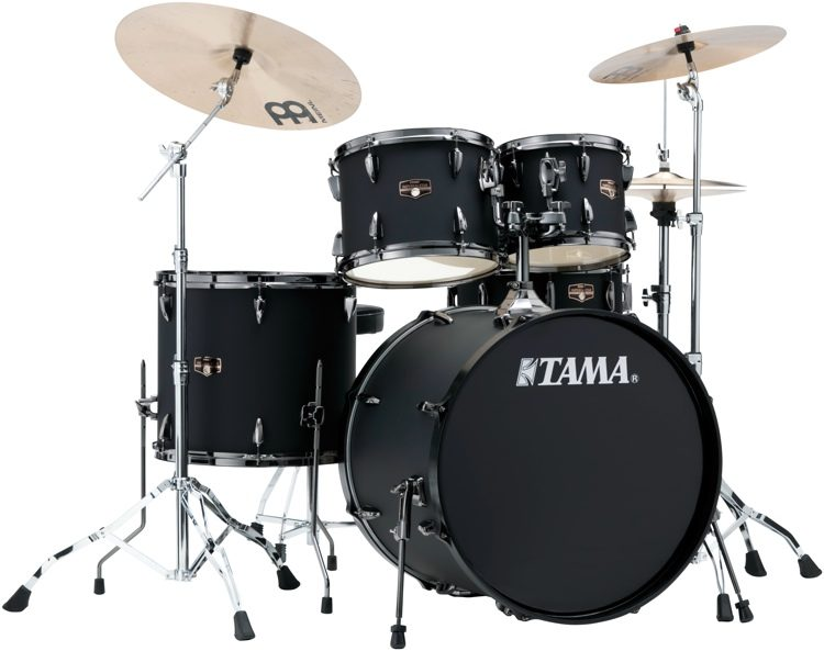 Tama Imperialstar Complete Drum Set 5 Piece Black With Nickel Hardware Image