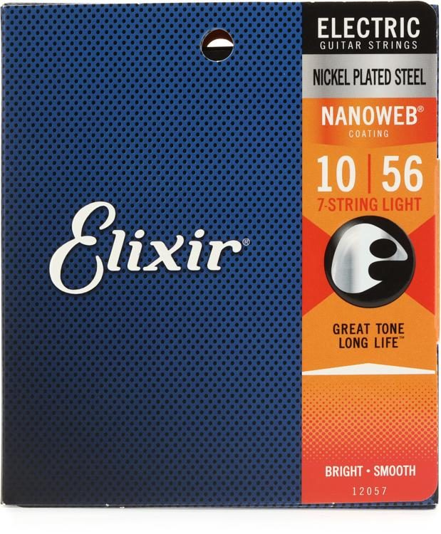 Elixir Guitar Strings  3 Pack  Nanoweb  7 string Custom Light  12057