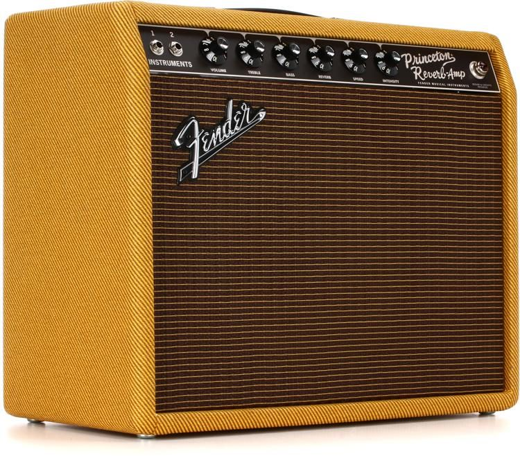 Fender Tweed Amp >> 65 Princeton Reverb 15 Watt 1x12 Tube Combo Amp Lacquered Tweed
