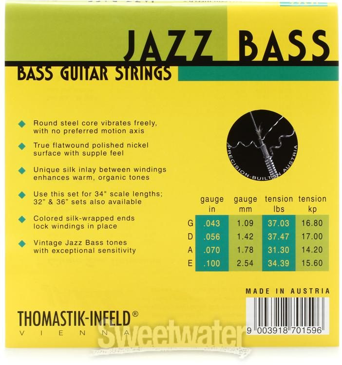 Thomastik Strings for Electric Bass Jazz Bass Flat Wound Set JF344 4-String Long