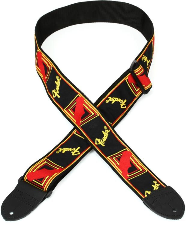 Fender Guitar Strap >> 2 Monogrammed Guitar Strap Black Yellow And Red
