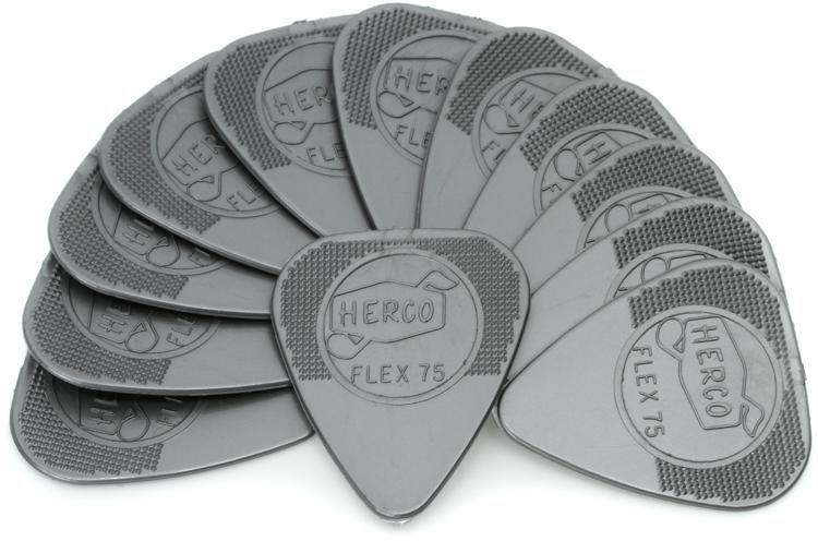 Herco Gitarren Plektrum 12 Packung Silber Flex 75 M Plektren