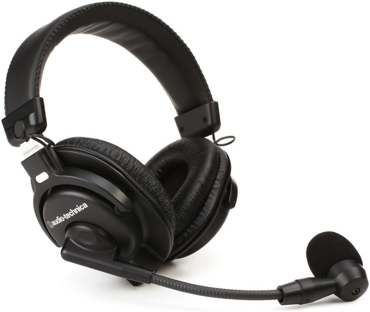 75dd441dc93 Headphones With Microphones Audio Technica Us. Bphs1 Broadcast Stereo Heet  W Dynamic Boom Mic