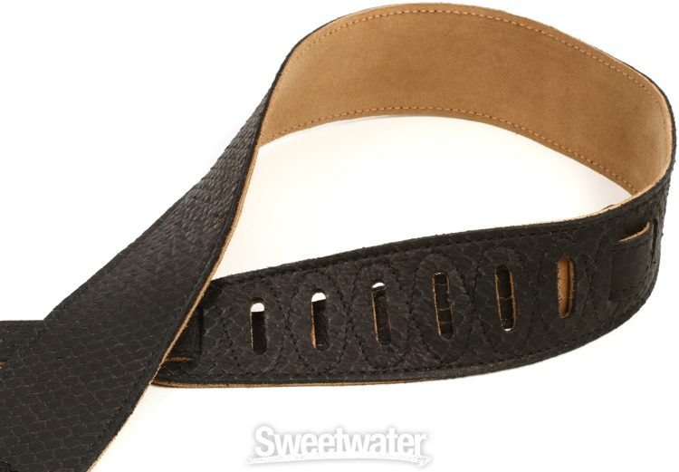 """DIRT NAP Zombie Guitar Strap   Black Cordura /& Leather Ends  Adjusts Up to 64/"""""""