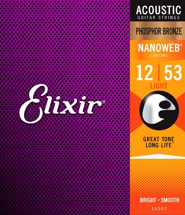 Elixir Guitar Strings Phosphor Bronze Nanoweb Extra Light 3 Pack