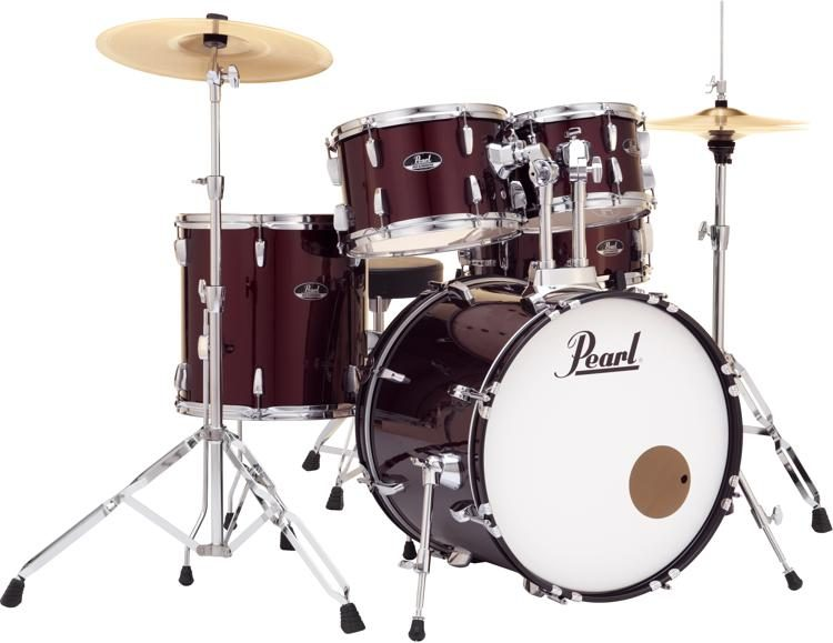 Pearl Roadshow 5 Piece Complete Drum Set With Cymbals 20 Kick
