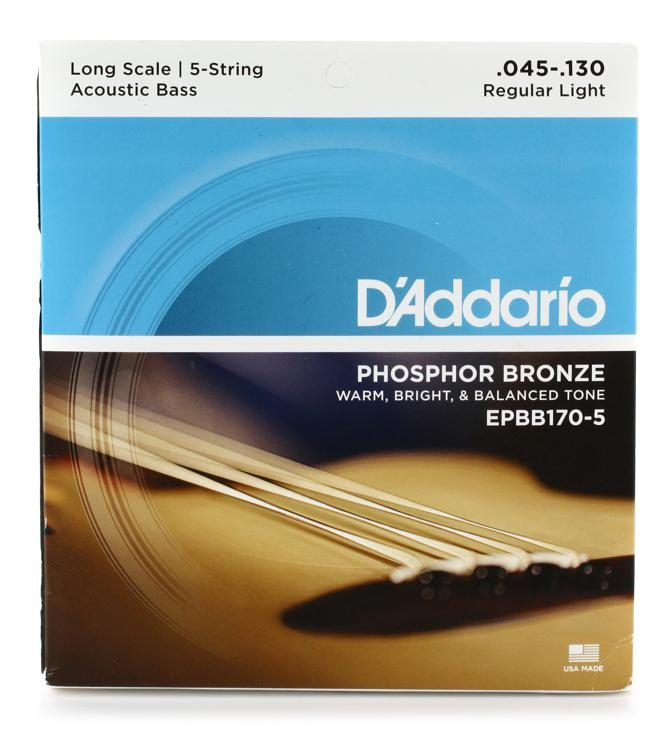 D/'Addario Phosphor Bronze Coated 5-String Acoustic Bass 45-130 Long Scale