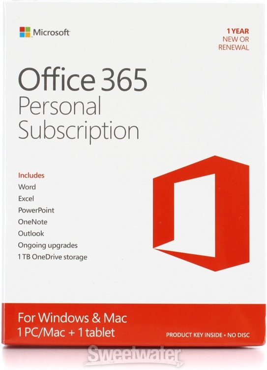 Microsoft Office 365 Personal - 1-year Subscription | Sweetwater
